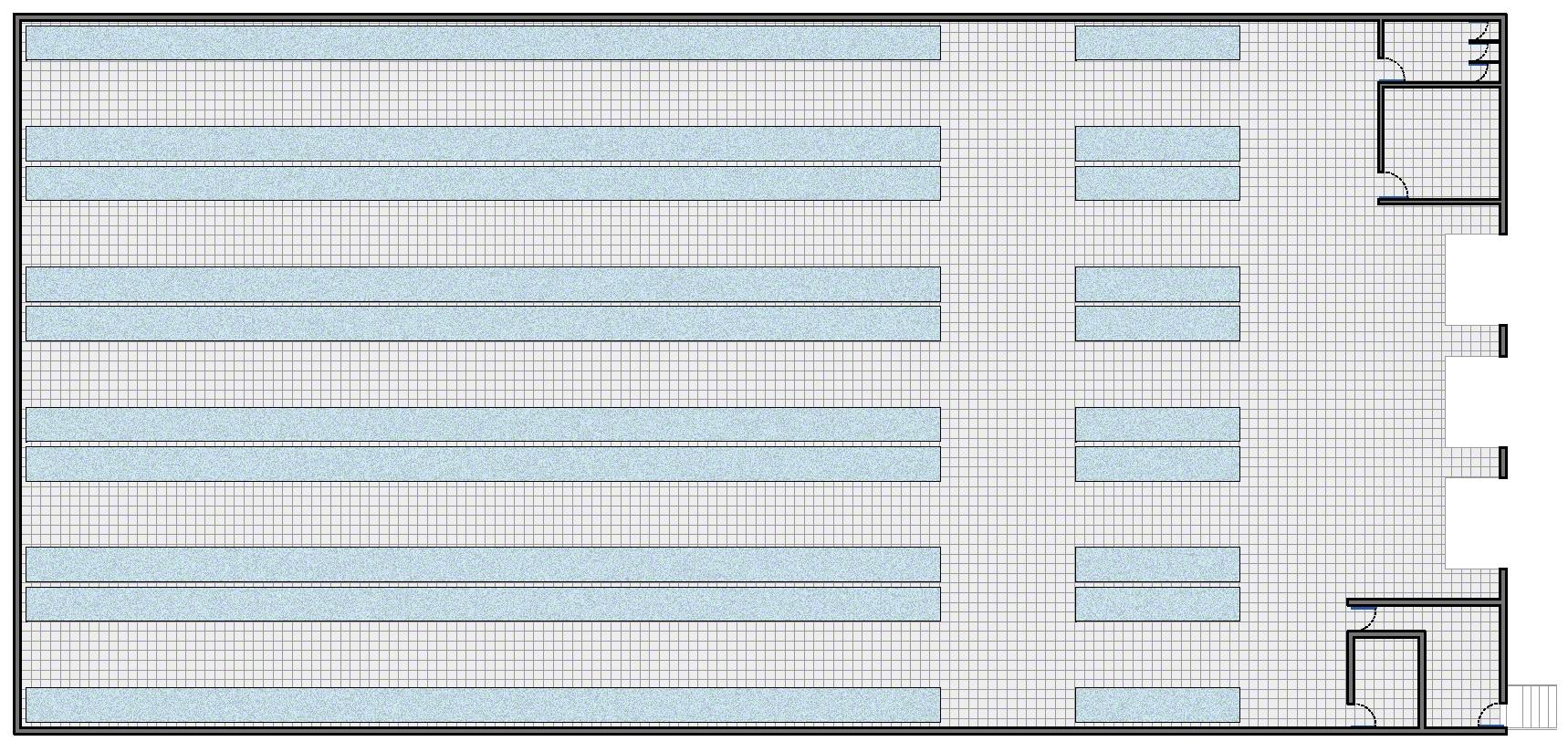 Magazijn met extra zones, zoals: de ontvangst-, verpakkings-, consolidatie- en verzendzone