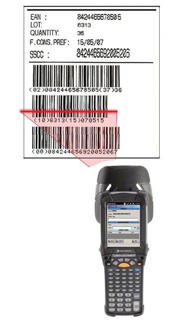 Etiket met barcode EAN-128 waarmee de pallet geïdentificeerd kan worden, alsmede het product dat het bevat en de kenmerken ervan.