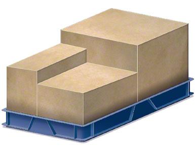 Een lage kunststof bak waarin de door de leverancier verzonden dozen worden geplaatst