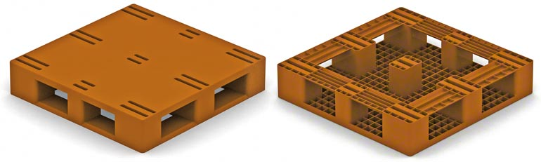 lijkt veel op een houten pallet van type 2, met doorlopende sleden aan de onderkant; hierbij moet men met dezelfde beperkingen rekening houden als van de houten pallet.