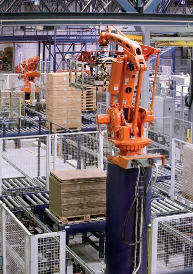 Antropomorfische robot voor de afhandeling van pallets.