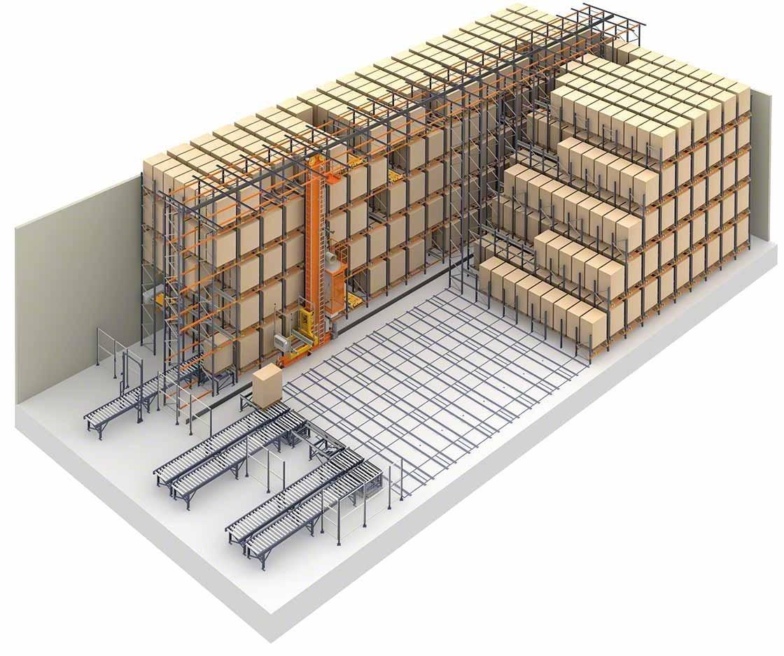 Weergave van een magazijn dat gebruik maakt van compacte opslag in combinatie met een automatische Pallet Shuttle.