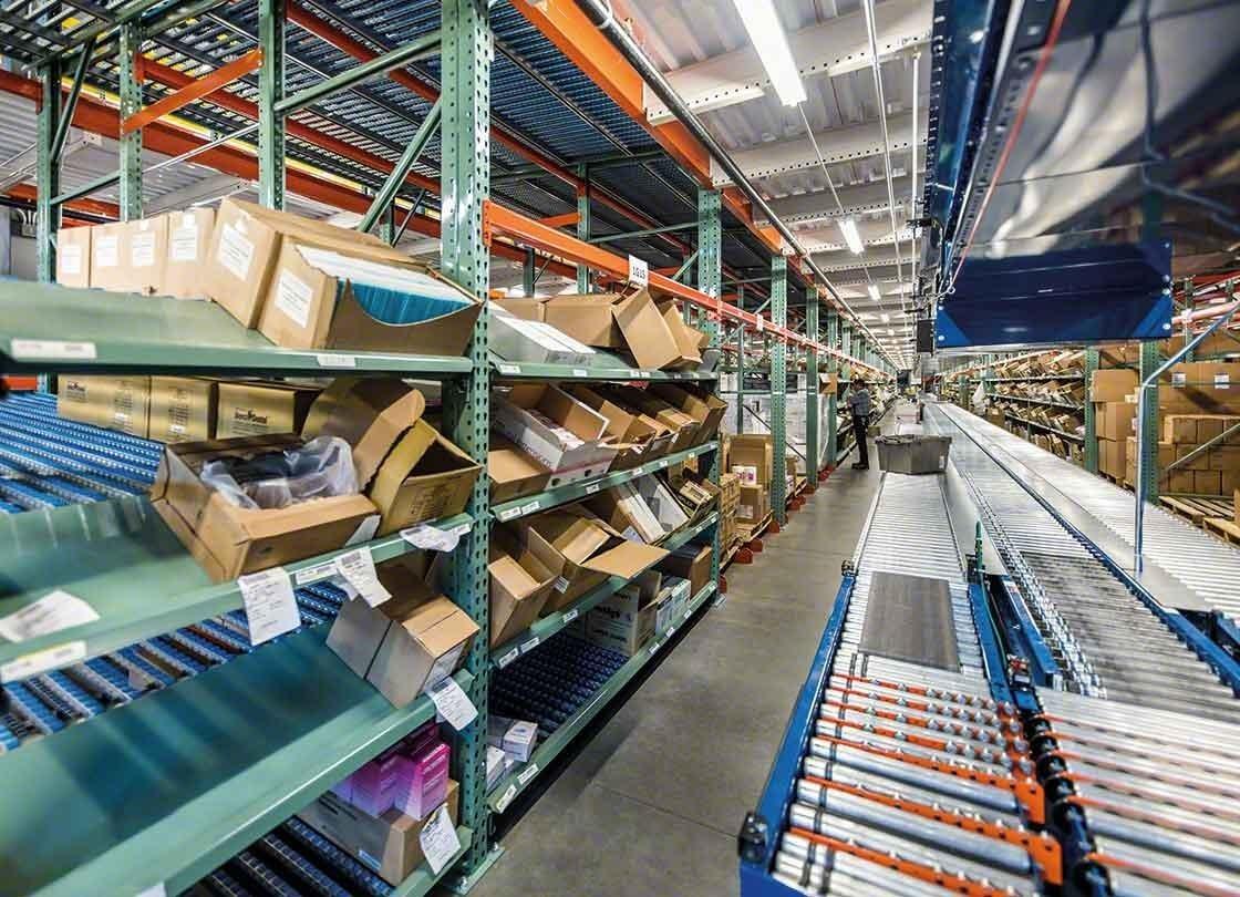 Orderpickingzone uitgerust met transport- en rollenbanen voor magazijnbakken en dozen