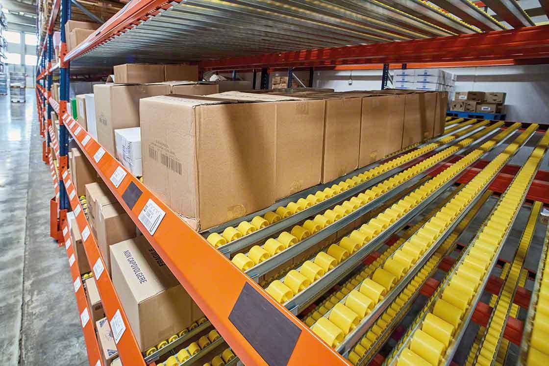 Doorrolstelling voor dozen geschikt voor orderpicking