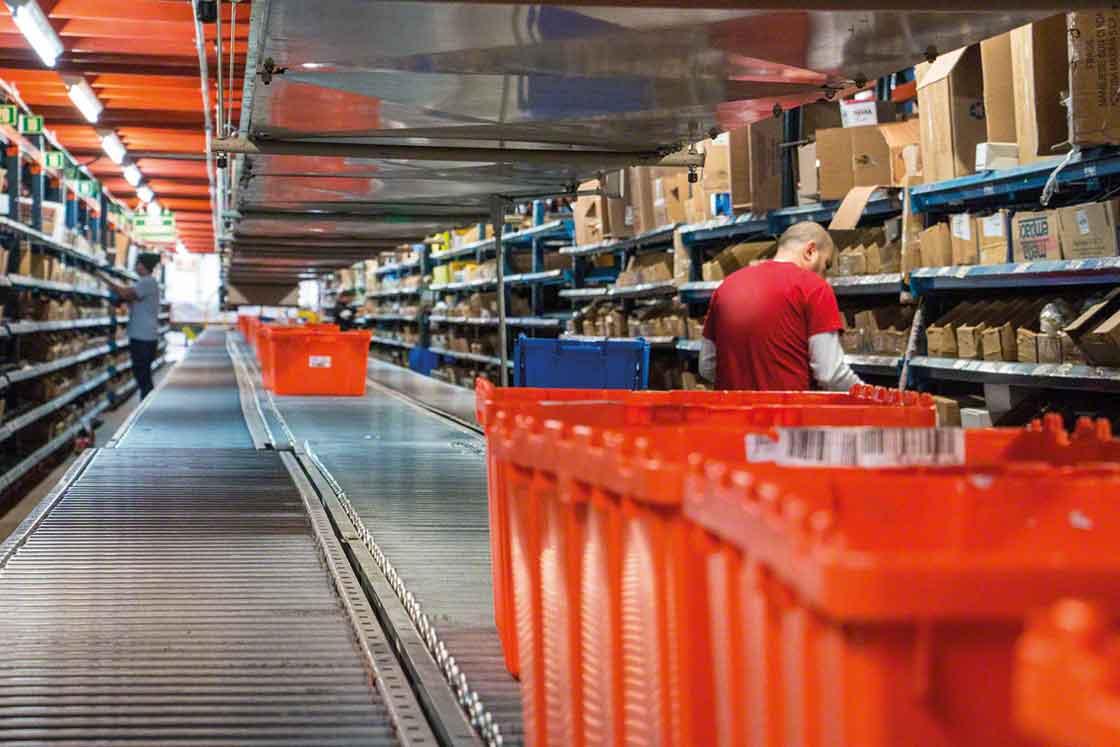 Een goede logistiek voor reserveonderdelen kan, voor items met een grote omloopsnelheid, gebruik maken van metalen rekken en transportbanden