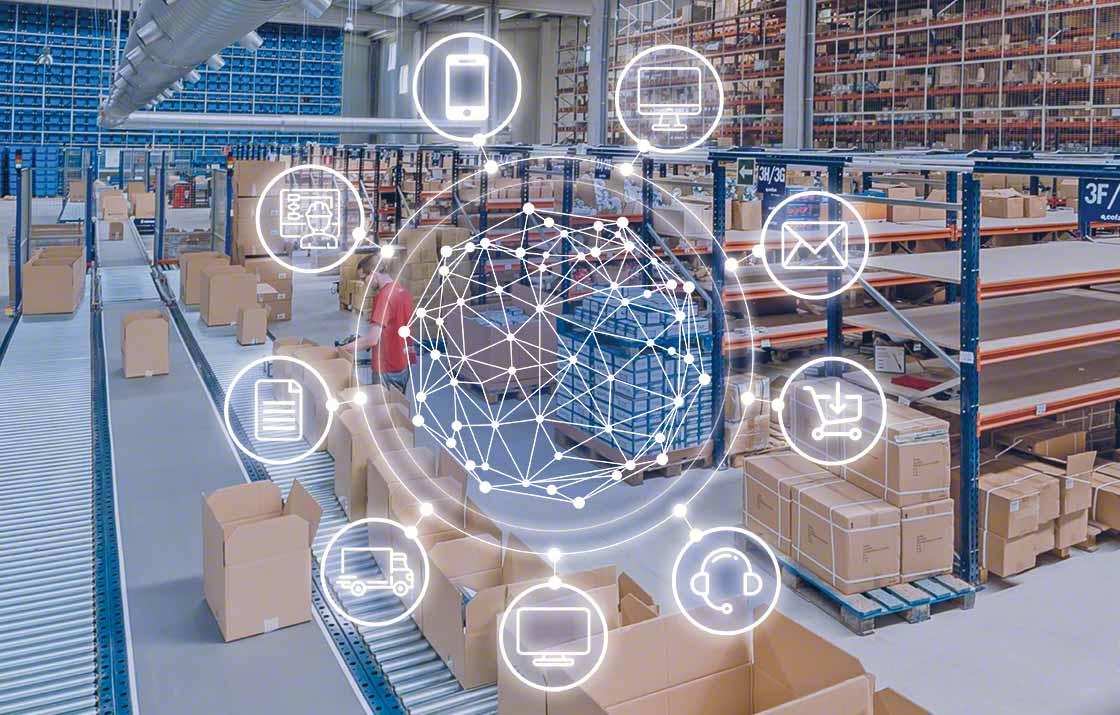 Het beste WMS-systeem is verbonden met de informatie softwarepakketten die in het magazijn worden gebruikt